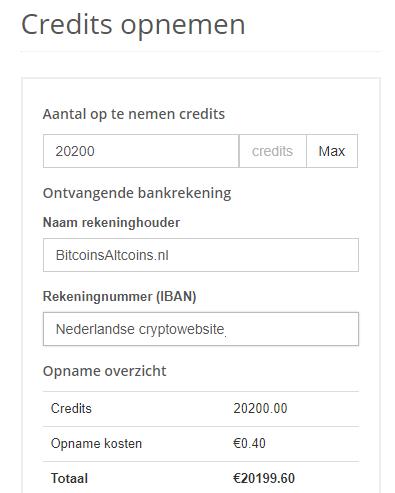 Credits opnemen Litebit