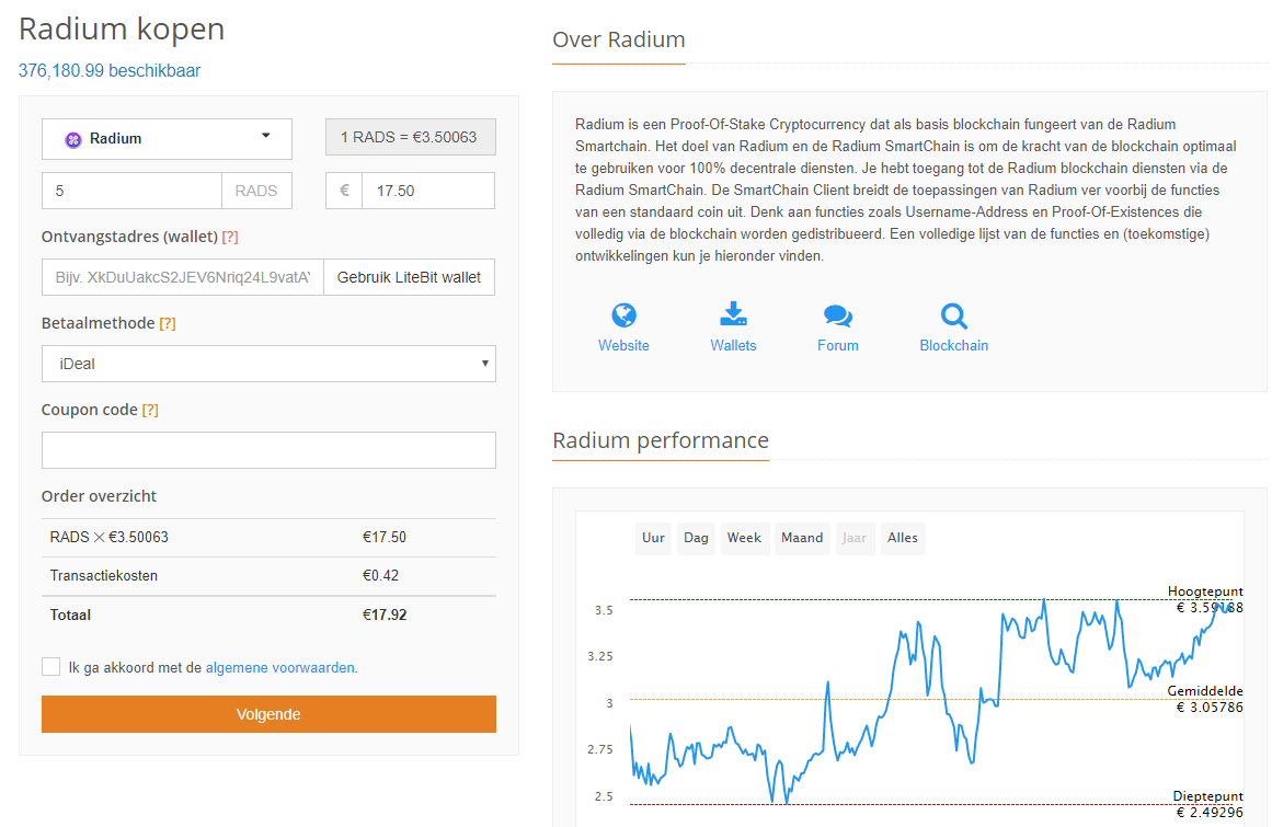 Radium kopen iDEAL of exchanges