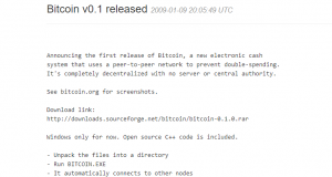 Bitcoin Versie 0.1.0 release