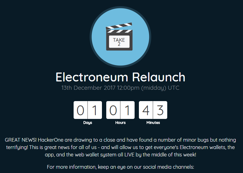 Electroneum re launch 13 december ETN