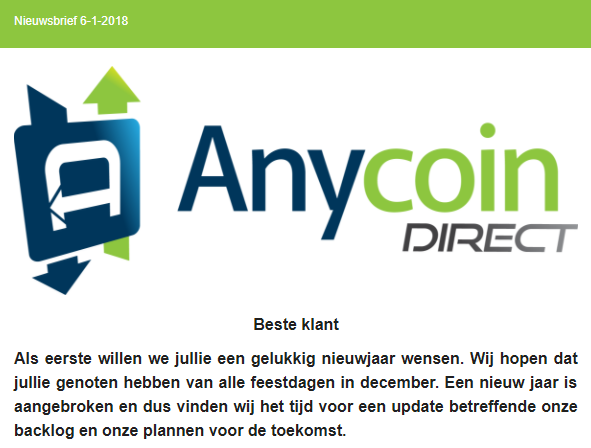Anycoin Direct klantenstop