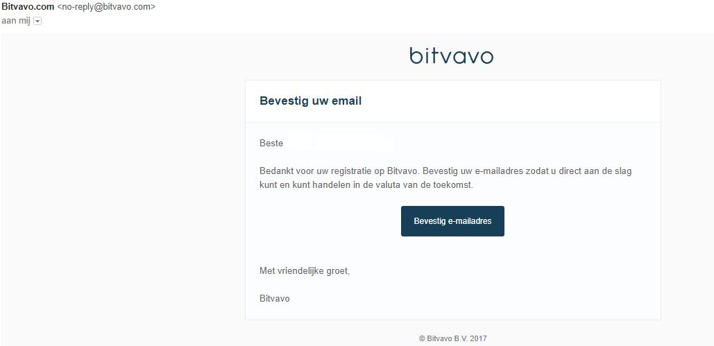 Bevestigen registratie Bitvavo