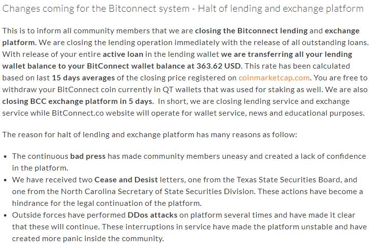 Bitconnect nieuwsbericht over stoppen