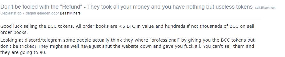 Geld terug BitConnect