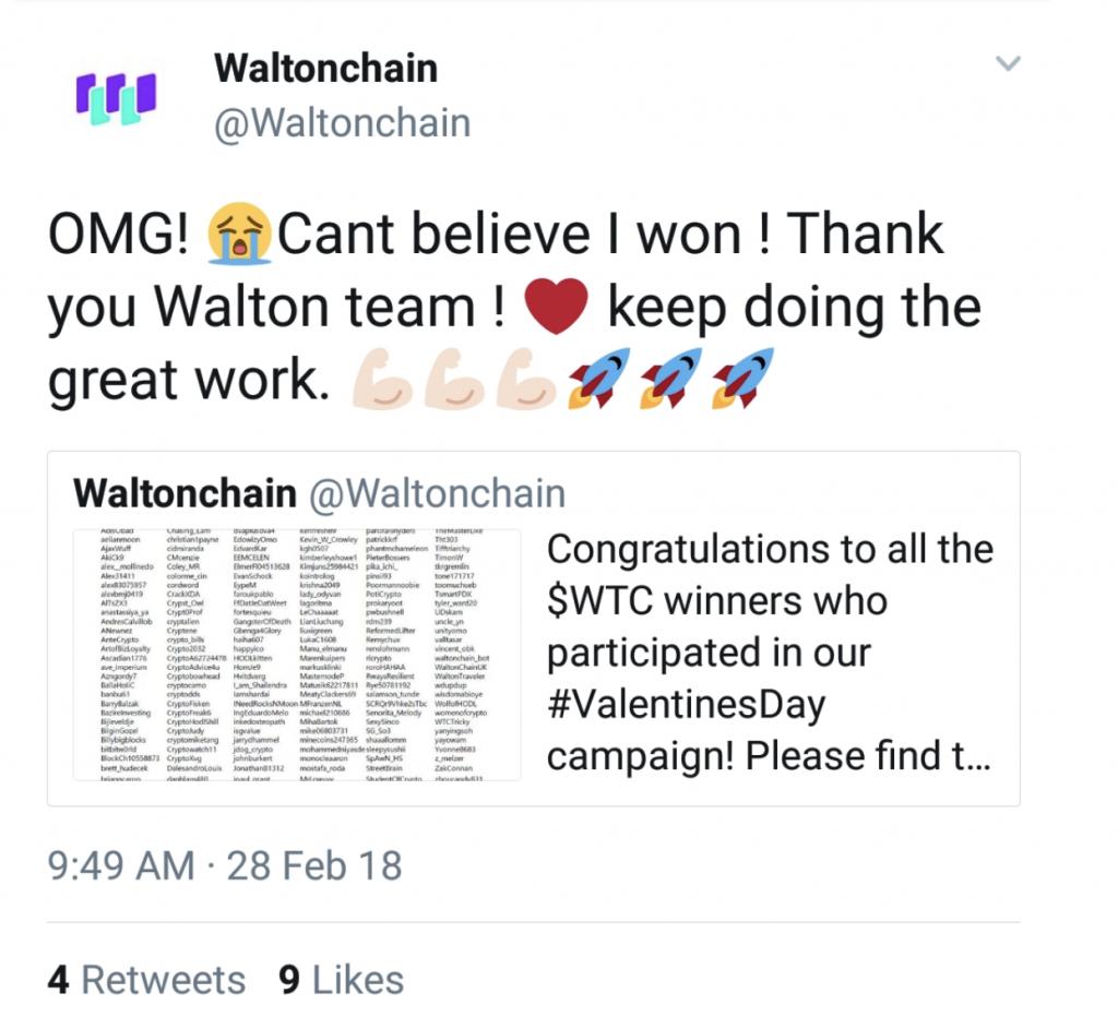 WaltonChain twitter fail