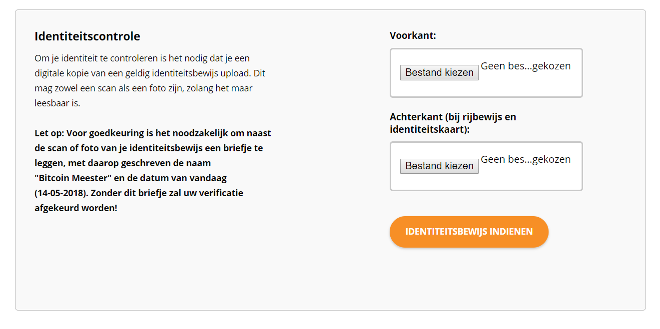 Bitcoin Meester identiteitscontrole