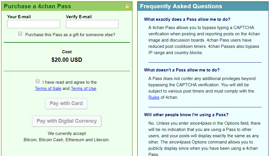 4chan pass betalen met cryptocurrency