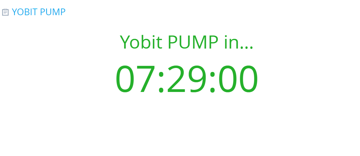 YoBit pump timer
