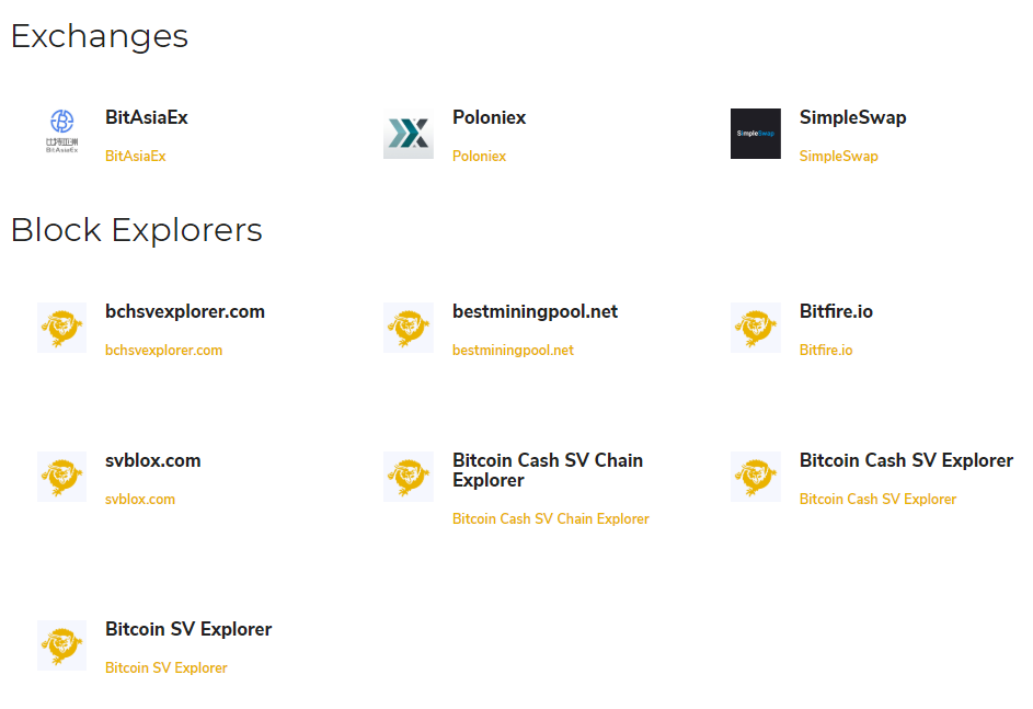 Exchanges en blockexplorers Bitcoin Cash SV review