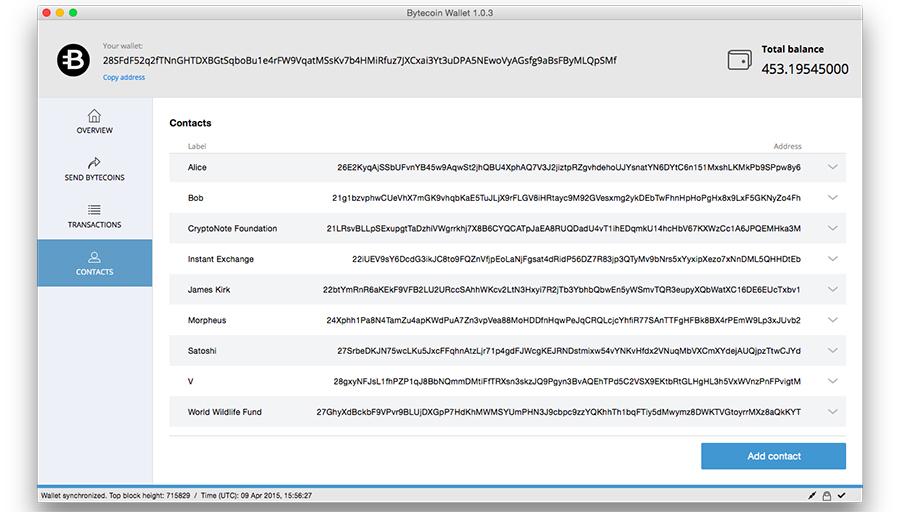 Bytecoin wallet desktop