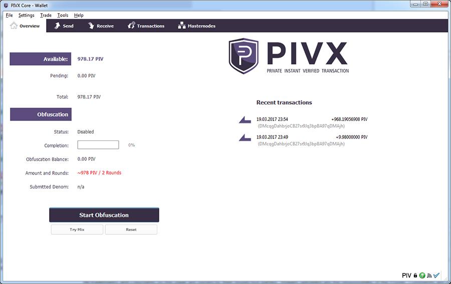 PIVX core wallet