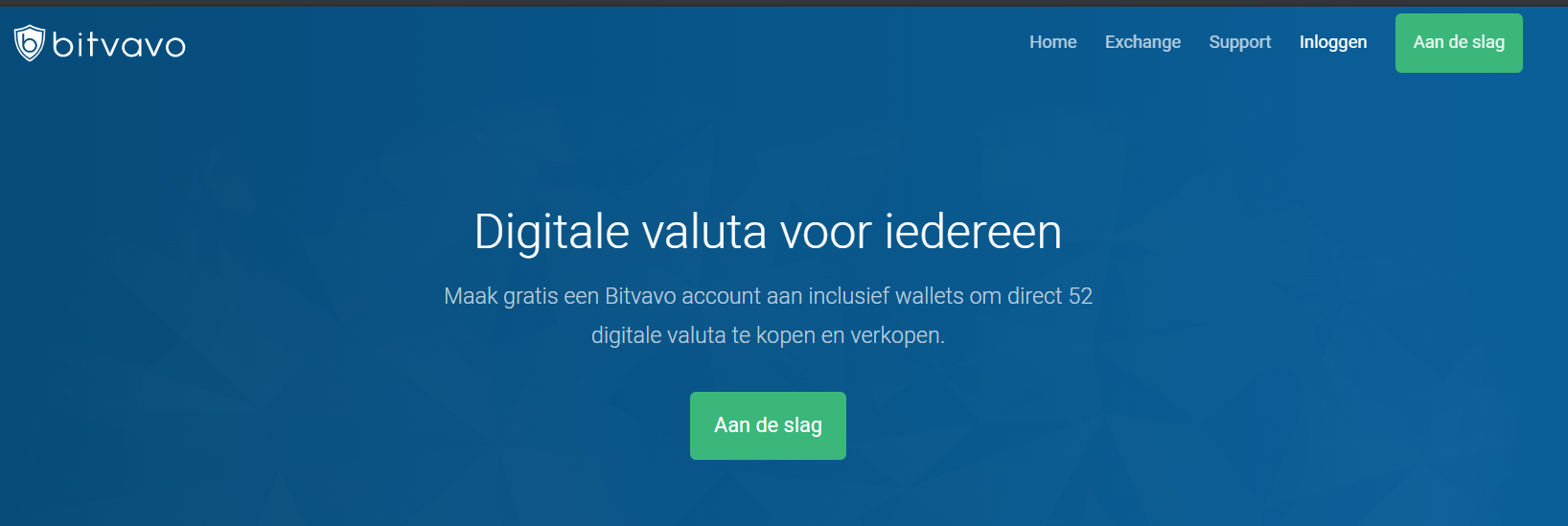 Stap 1 ga naar website Bitvavo