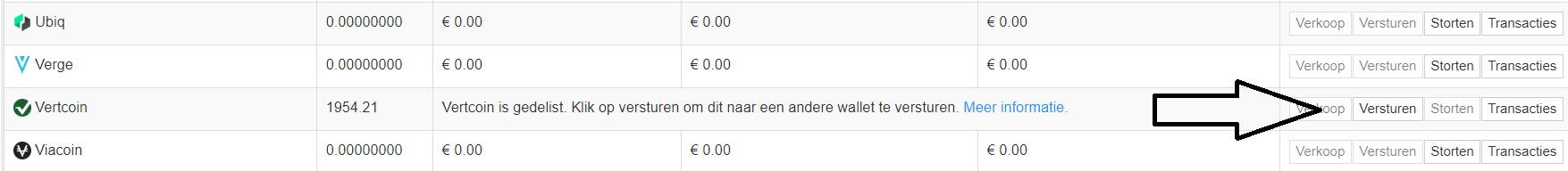 Vertcoin wallet versturen naar Bitvavo