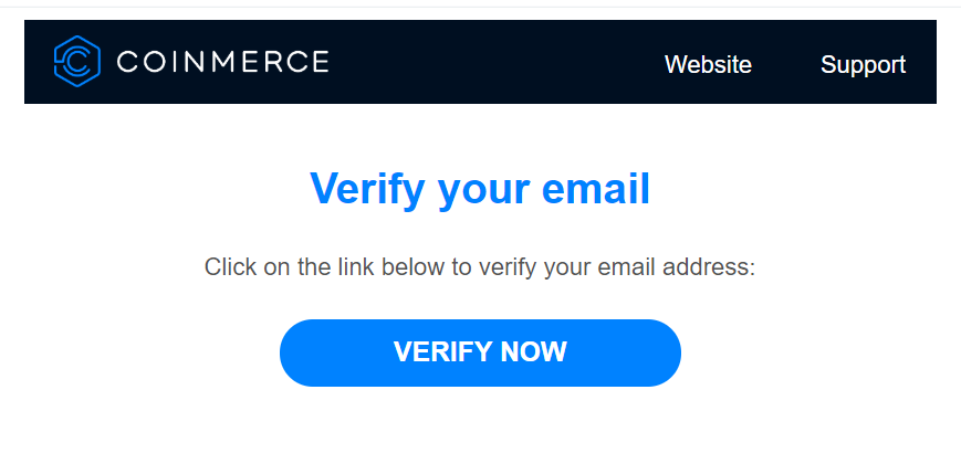 Verify e-mail Coinmerce