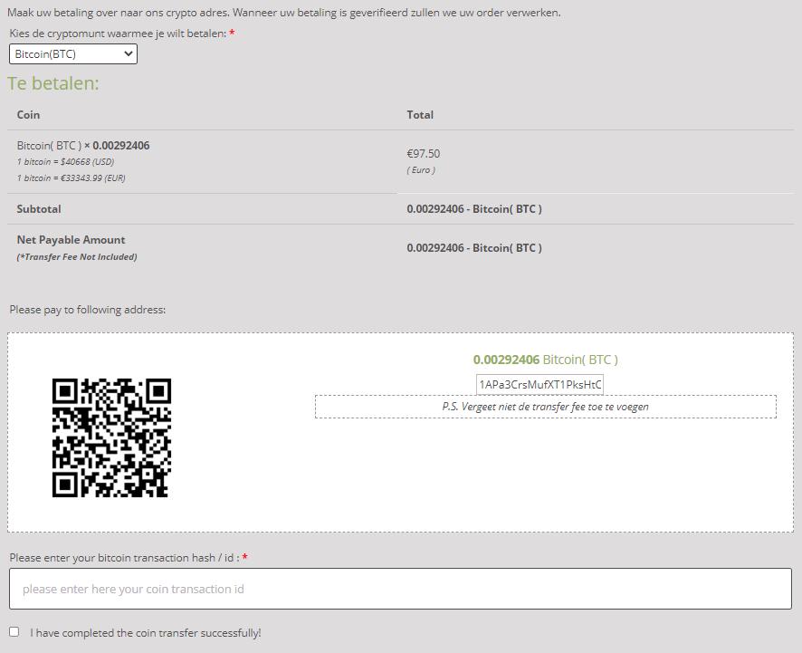 Betaal overzicht met bitcoin adres en QR code