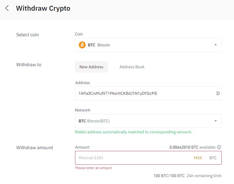 Bitcoin overmaken vanuit Binance exchange