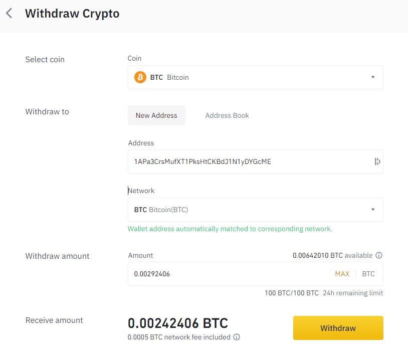 Crypto overmaken vanuit binance exchange