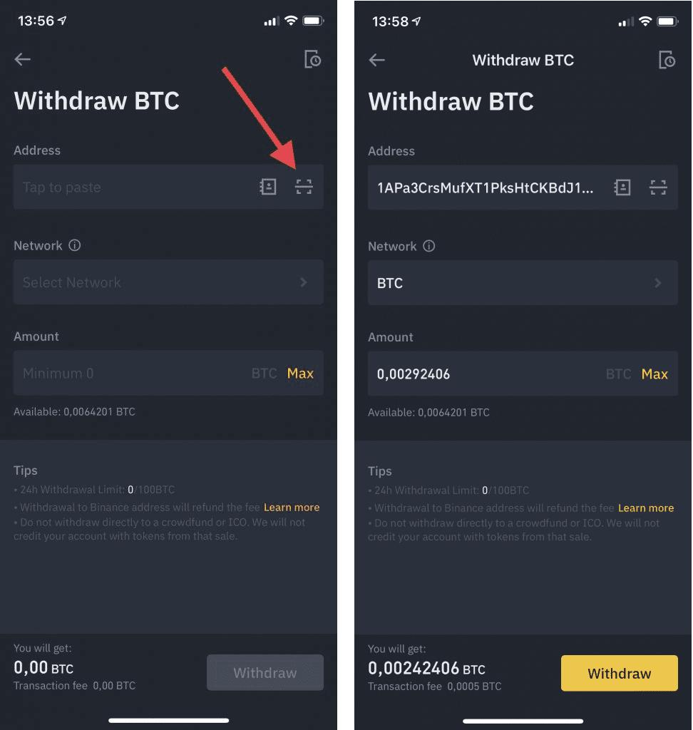 Bitcoin overmaken op mobiel via binance exchange app met QR code